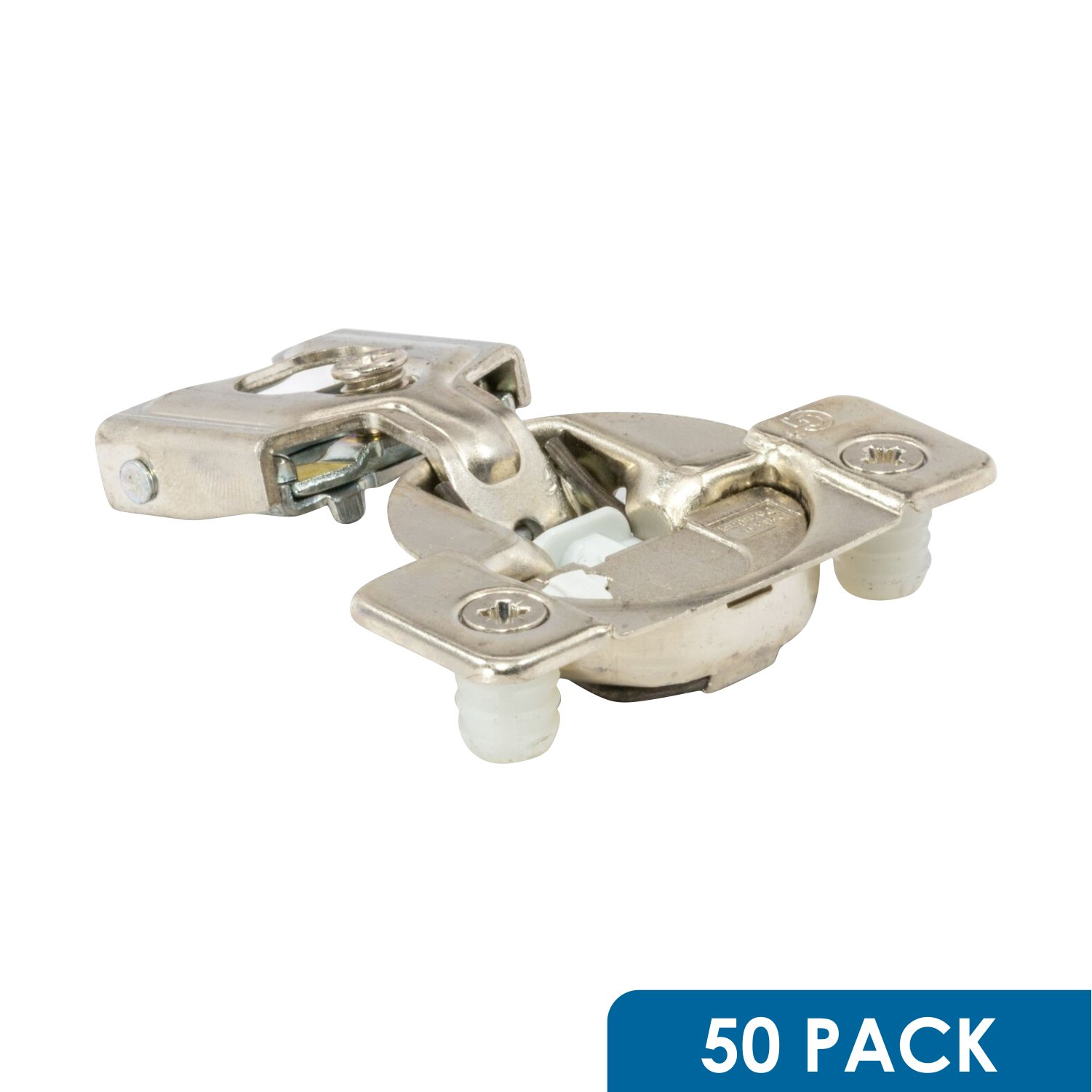 50 Pack Rok Hardware Grass TEC 108 Degree 1/2'' Overlay Soft Close Press In Compact Edge Mount Cabinet Hinge 02749A-15 3-Way Adjustment 42mm Screw Hole Pattern
