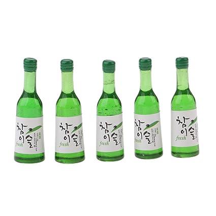 Homyl 5 Unids 1/12 Miniatura Casa de Muñecas Accesorios de Comida Botellas de Shochu