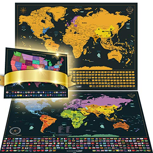 Scratch Off World Map XL Edition + Premium Scratch Off USA Map - Import It  All