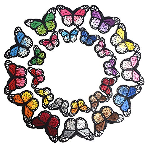 J.CARP 24Pcs Butterfly Iron on Patches, Embroidered Sew Applique Repair Patch