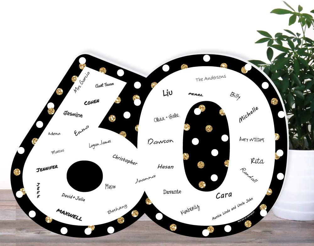 Big Dot of Happiness Adult 100th Birthday Gold Signature Mat Birthday Party Guestbook Alternative Guest Book Sign