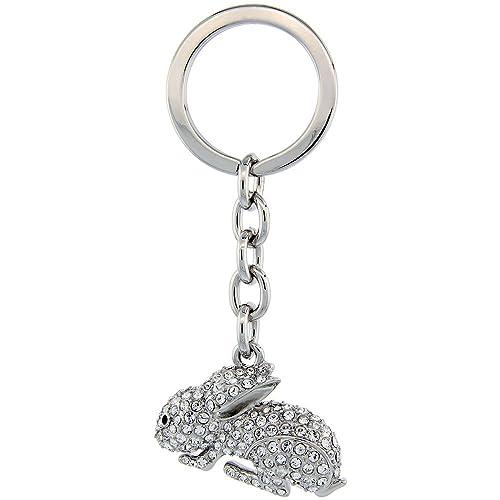 Amazon.com: Jeweled conejo cadena de clave, llavero, llavero ...