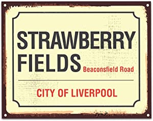 Fhdang Decor Aluminum Sign Strawberry Fields Street Sign Unframed Typography Great Gift Metal Sign 8x12 Inches
