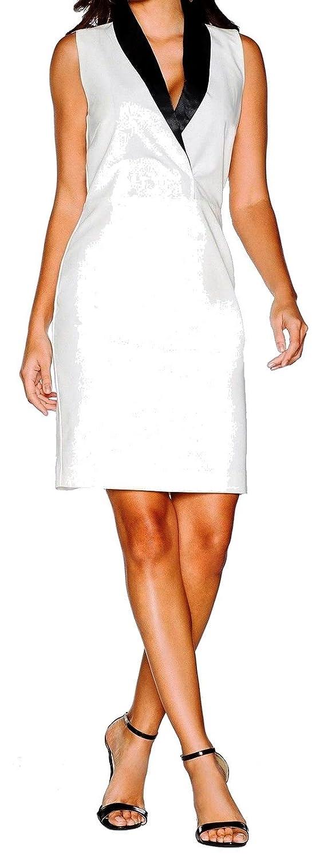 Versandhaus Elegantes Smoking-Kleid, Abendkleid wollweiß mit Reverskragen, Maße Stehen unten im Text