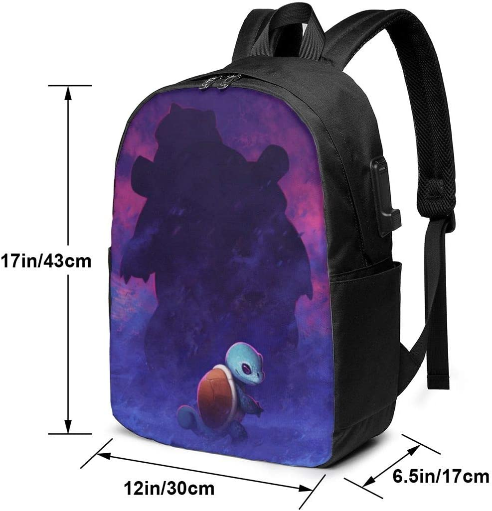 Anime Squirtle Laptop Backpack with USB Charging Port//Stylish Casual Waterproof Backpacks Fits Most 17//15.6 Inch Laptops and Tablets//for Work Travel School