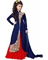 dream note girl's Blue Coloured Banglory silk Indo Western low price best Quality,Salwar Suit,Dresses,Gown,Lehenga(Girl's 8-12 Year Age)