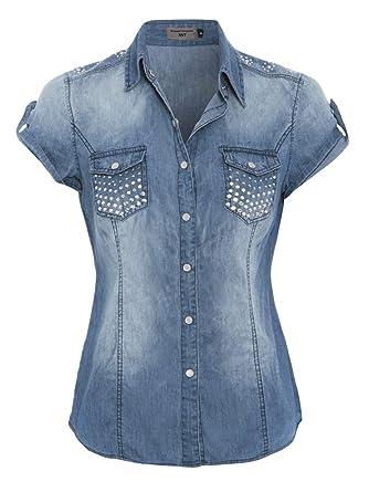 bbd865410d102 SS7 - Chemisier Denim pour Dames Taille 36-42: Amazon.fr: Vêtements et  accessoires