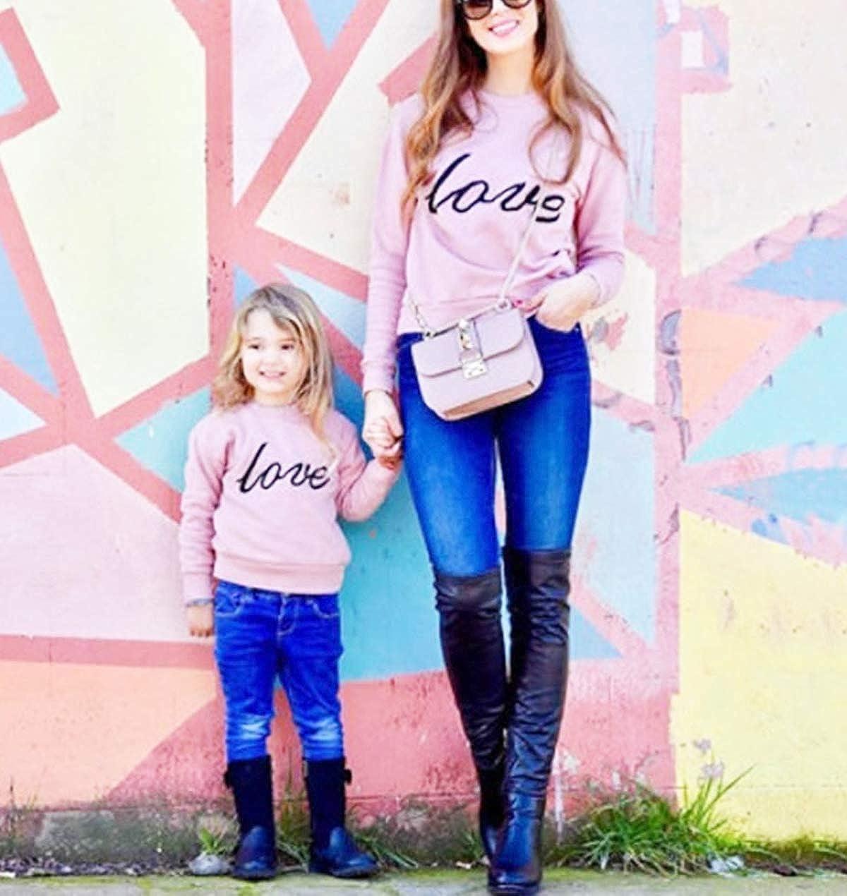 WANGSAURA Mother and Daughter Matching Clothes Women Girls Long Sleeve Love Sweatshirt Letter Print Pullover Sweatshirt Pink