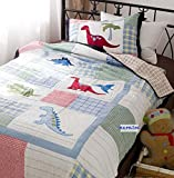 MZPRIDE Dinosaur Bedding Sets Cute Cartoon Dinosaur Quilted Bed Set 100% Cotton Kids Quilt Bedding