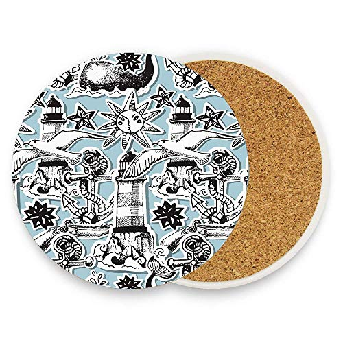 Whale Anchor Lighthouse Sun Seagull Seaweed Marine Ocean Doodles Absorbent Coaster For Drinks Ceramic Thirsty Stone With Cork Back Fit Big Cup, No Holder Parck 1
