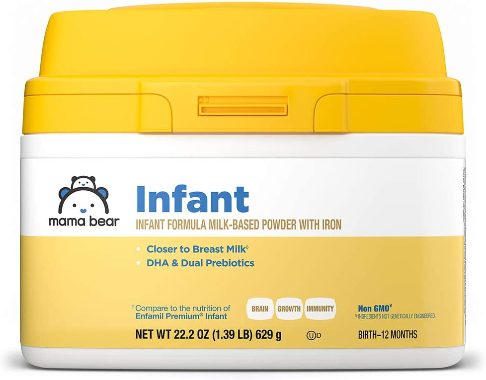 Amazon Brand - Mama Bear Milk-Based Powder Infant Formula with Iron, Non-GMO, 22.2 Ounce