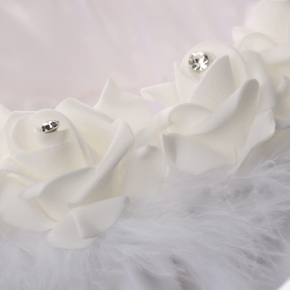 JUYUAN Romantic Satin Lace Bow Crystal Rhinestone Decor White Embroidered Petal Bridal Flower Basket Ceremony Wedding Party Style 12 Wedding Flowers Girl Basket