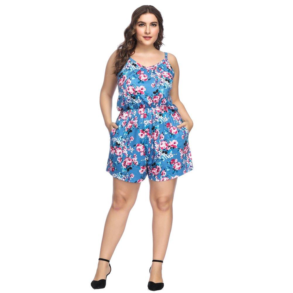 YUMDO Women's Plus Size Floral Print Jumpsuit Sleeveless Short Pants Romper Blue 3XL