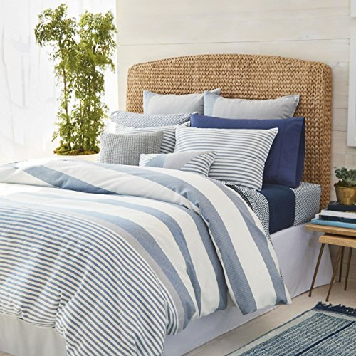 TL 3 Piece Navy Grey White Nautical Pattern Comforter Set King, Dark Blue Gray Color Block Rugby Stripes Textured Adult Bedding Master Bedroom Classic Coastal Contemporary Mediterranean, (Contemporary Coastal Stripe)