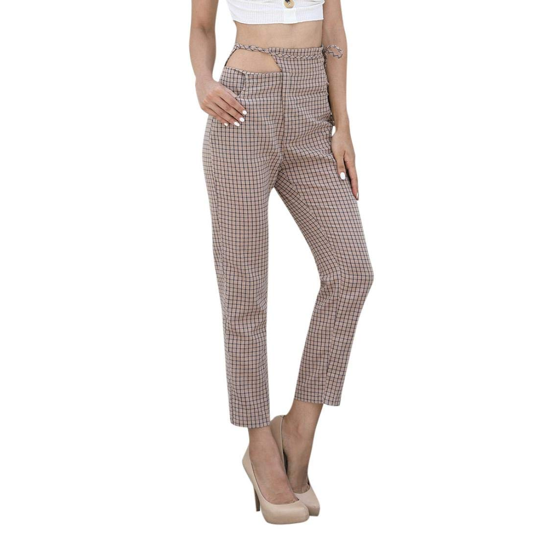 Women Plaid Trousers Ladies Lace up Loose Pants Muranba