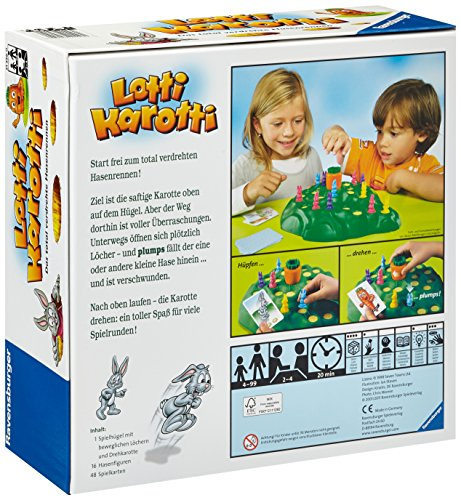 Ravensburger Lotti Karotti, Gesellschafts- und Familienspiel für Kinder und Erwachsene, Partyspiel für Kindergeburtstage, 2-4 Spieler, ab 4 Jahren 2