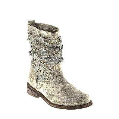 2e5ec215353f Felmini A947 Gredo Quartz+Guipure Damen Stiefelette Boots (36, Ouro+ Rafia)
