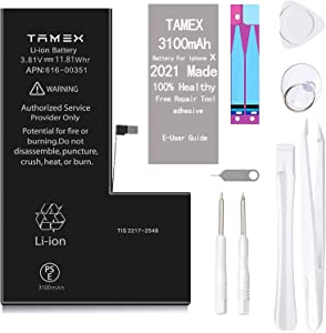 TAMEX Bateria for iPhone X 3100mAh Upgrade Super High Capacity Replacement Battery Compatible with iPhone X A1865, A1901, A1902 0 Cycle Li-Polymer for iPhone 10 with Repair Tools Kit