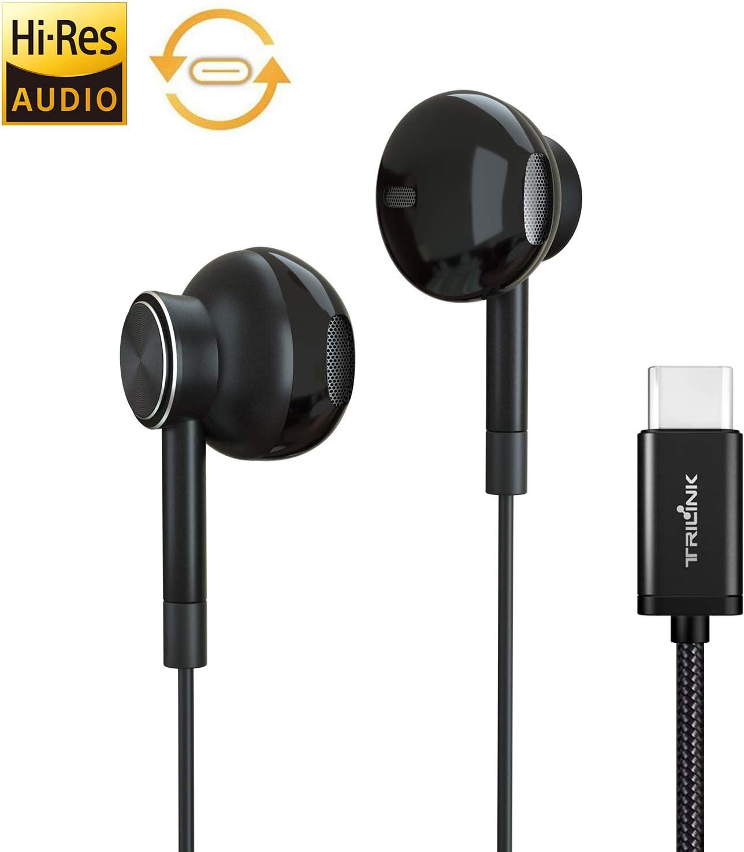 USB tipo C Auriculares de botón, Auriculares In Ear con Micrófono para iPad Pro/MacBook Pro/Air, Huawei P30/P20/Pro/Mate20/Mate10, Xiaomi mi 9/8/mix, Google Pixel 3/3XL/2/2XL, OnePlus 7/7 Pro/6/6T/5