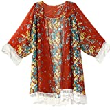 SimpleFun Women Chiffon Floral Kimono Cardigan (L, Dark Red)