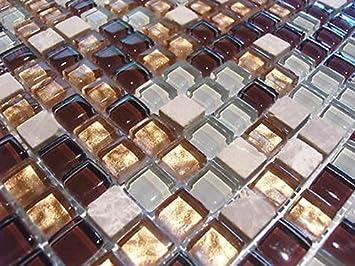 FLIESENTOPSHOP Glasmosaik Naturstein Marmor Fliesen Beige Gold Weiß Mosaik  Dusche Bad 8mm
