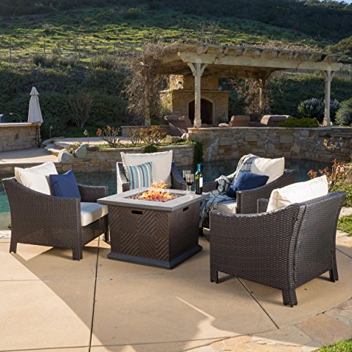 - Outdoor 4-piece Wicker Club Chair Set with 32-inch Square Liquid Propane Fire Pit