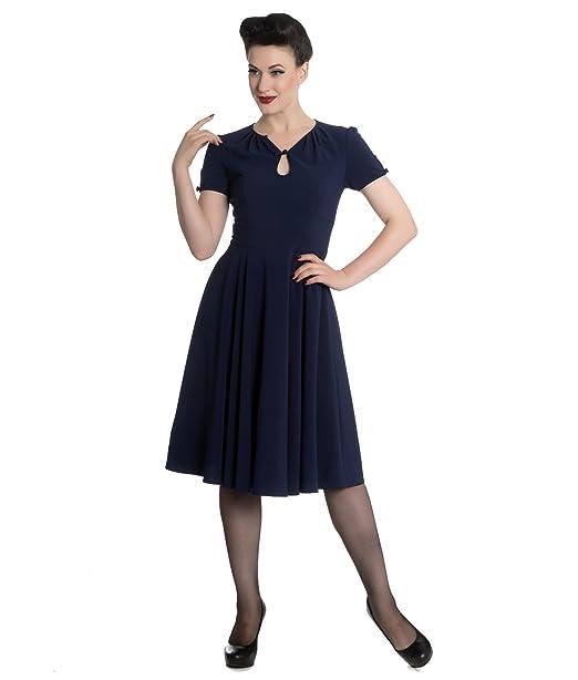 Hell Bunny Riley 40s periodo de guerras Vestido Estilo Vintage - Azul, UK 18-