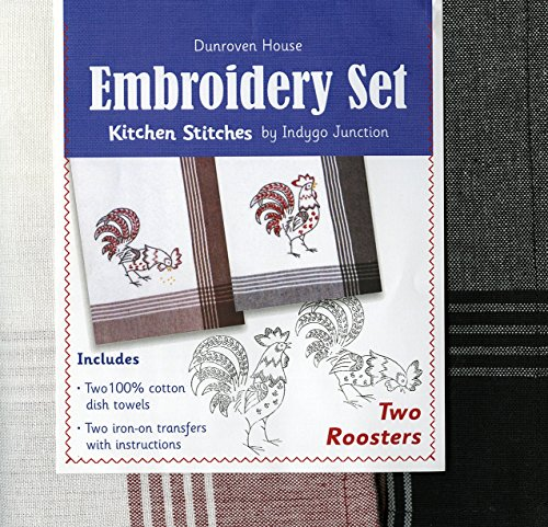 Crewel Transfer - Dunroven House Two Roosters Kitchen Stitches Embroidery Set, White with Red Stripes