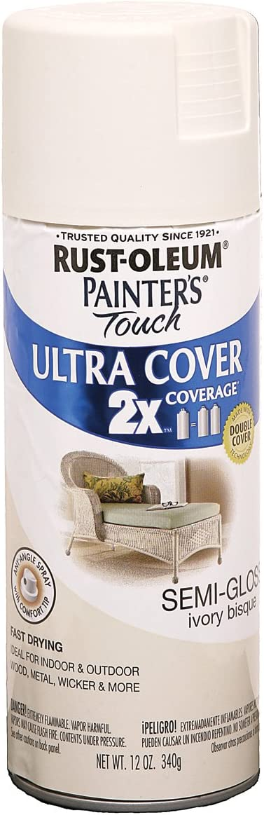 Rust-Oleum 249860 Painter's Touch 2X Ultra Cover, 12 Oz, Semi-Gloss Ivory Bisque