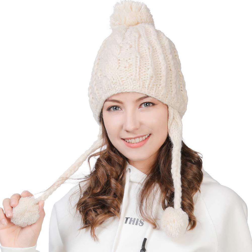 5e575015 Amazon.com : Fancet Womens Knit Peruvian Beanie Snow Winter Hat Ski Warm Cap  Earmuffs Pom Girl Cold Weather Beige : Sports & Outdoors