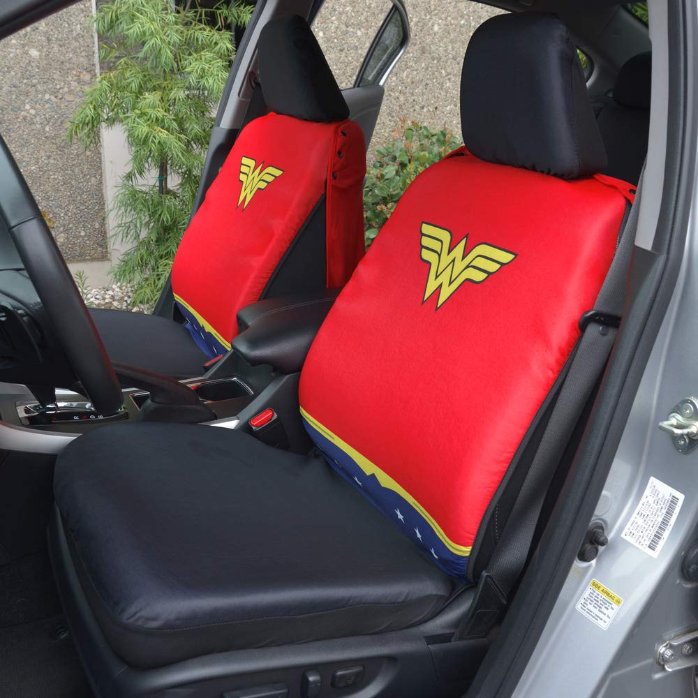 Wonder Woman Superhero Seat Covers with Detachable Cape Backing Front Car Seat Covers /& Seat Back Protector/