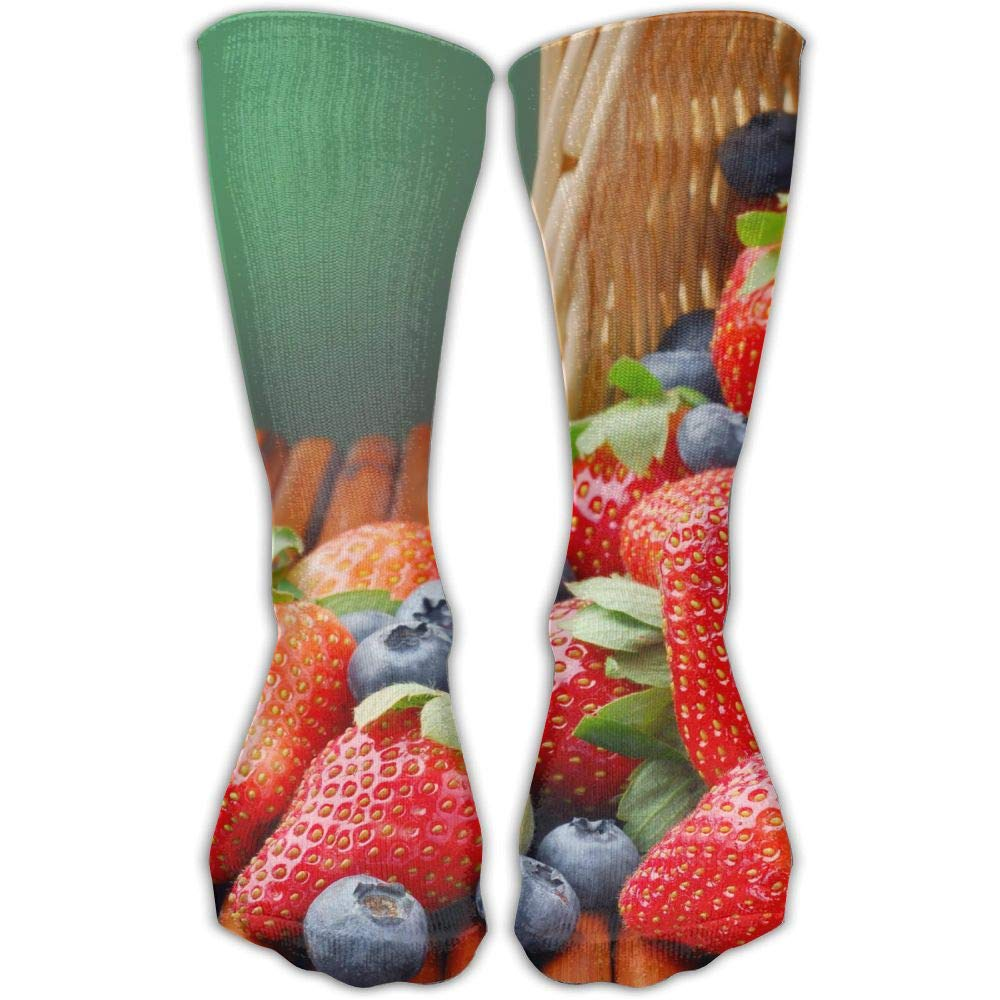 Protect Wrist For Cycling Moisture Control Elastic Sock Tube Socks Strawberries And Blueberry Athletic Soccer Socks