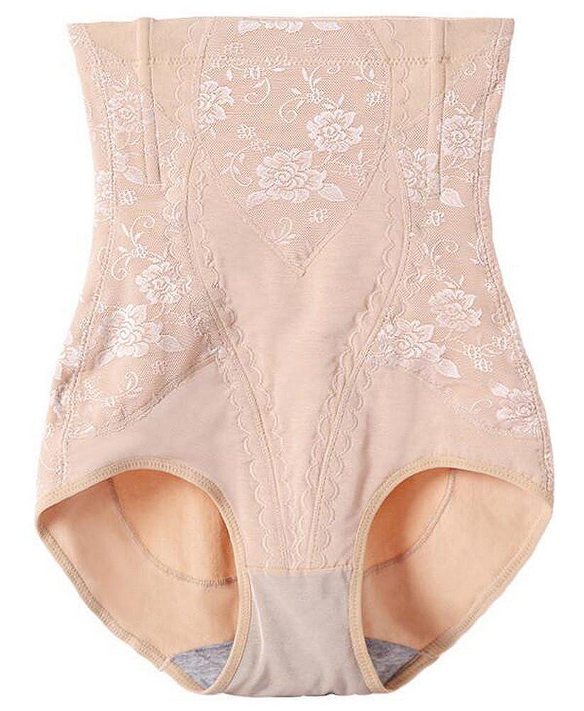 aa58295eb Foucome Women s Tummy Control Panties Hi-Waist Brief Firm Cotton Lace Trim  Shapewear