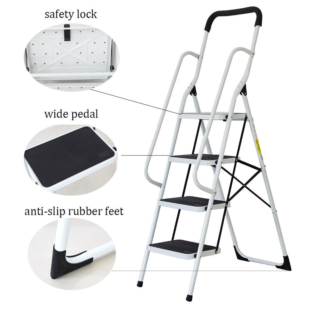 KARMAS PRODUCT Folding 4 Step Ladder with Handrails for Home,Anti-Slip Safty Steel Step Stool 300LB by KARMAS PRODUCT (Image #3)