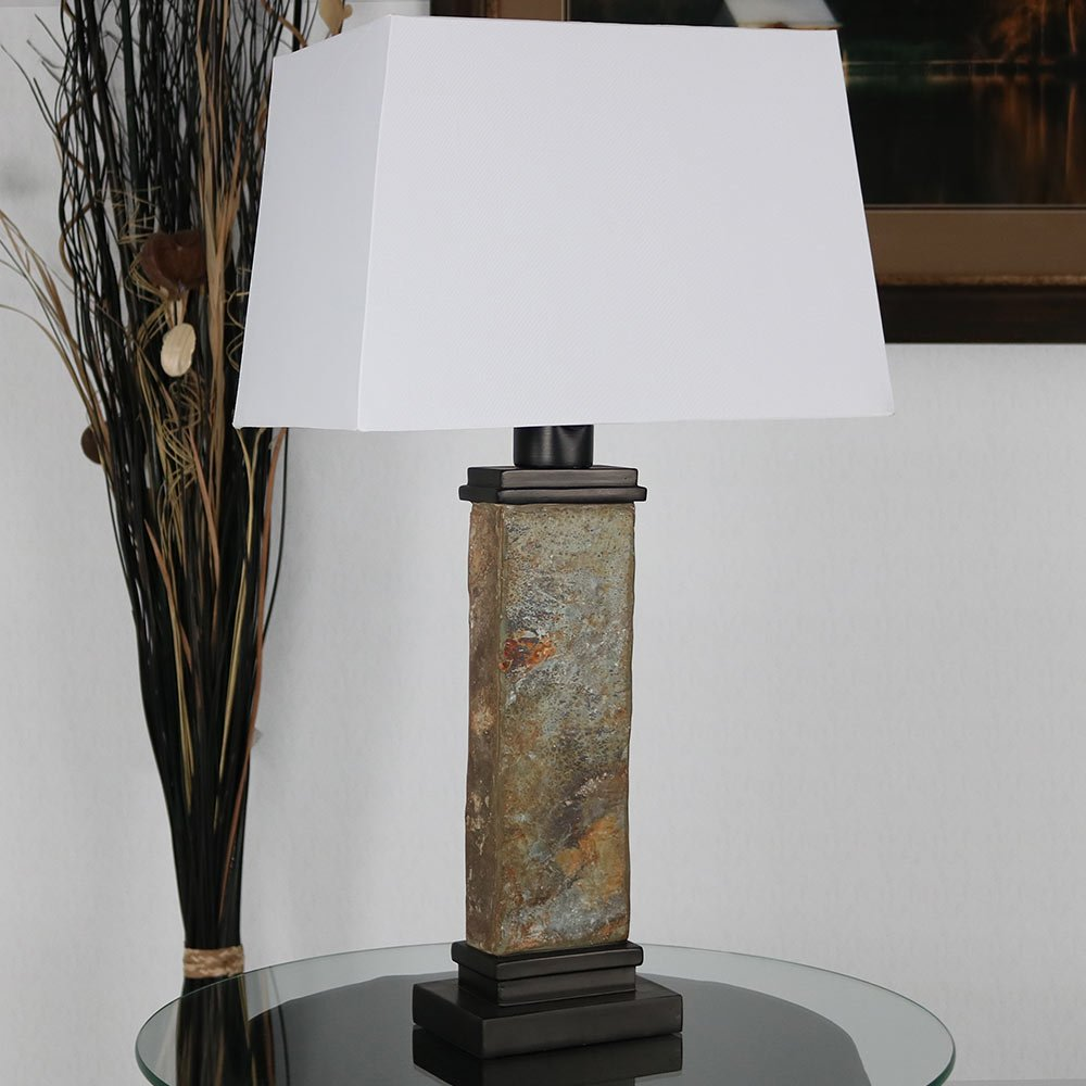 Sunnydaze Indoor Rustic Slate Accent Table Lamp, 26 Inch