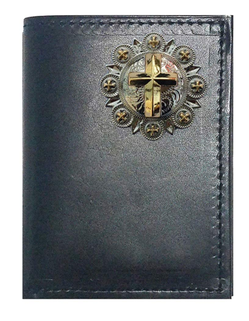 Custom Crosss and Berries Concho on a Black Harness Leather Trifold Wallet Proudly made in the USA.