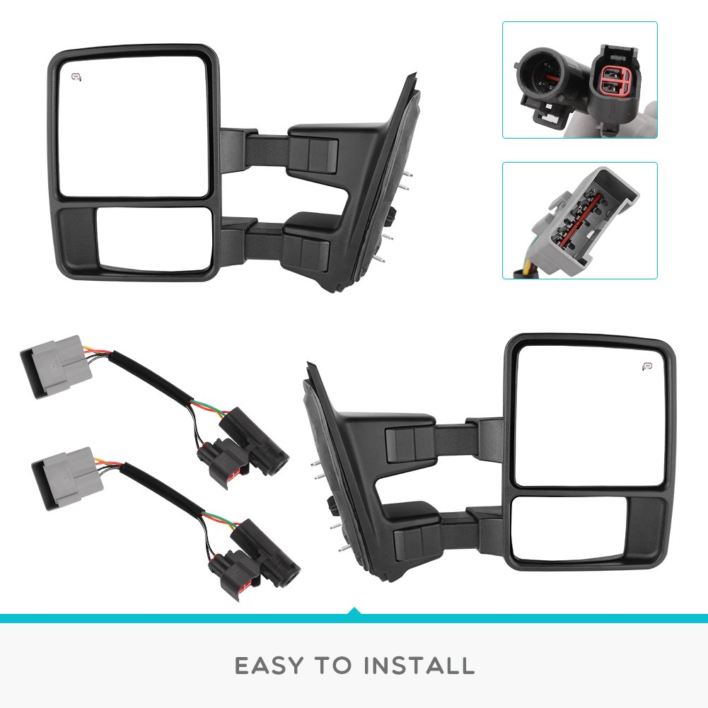 Yitamotor Towing Mirrors For Ford 1999 2007 F250 F350 F450 F550 Mirror 2000 Wiring Super Duty Tow Power Heated With Turn Signal Light Side 2001