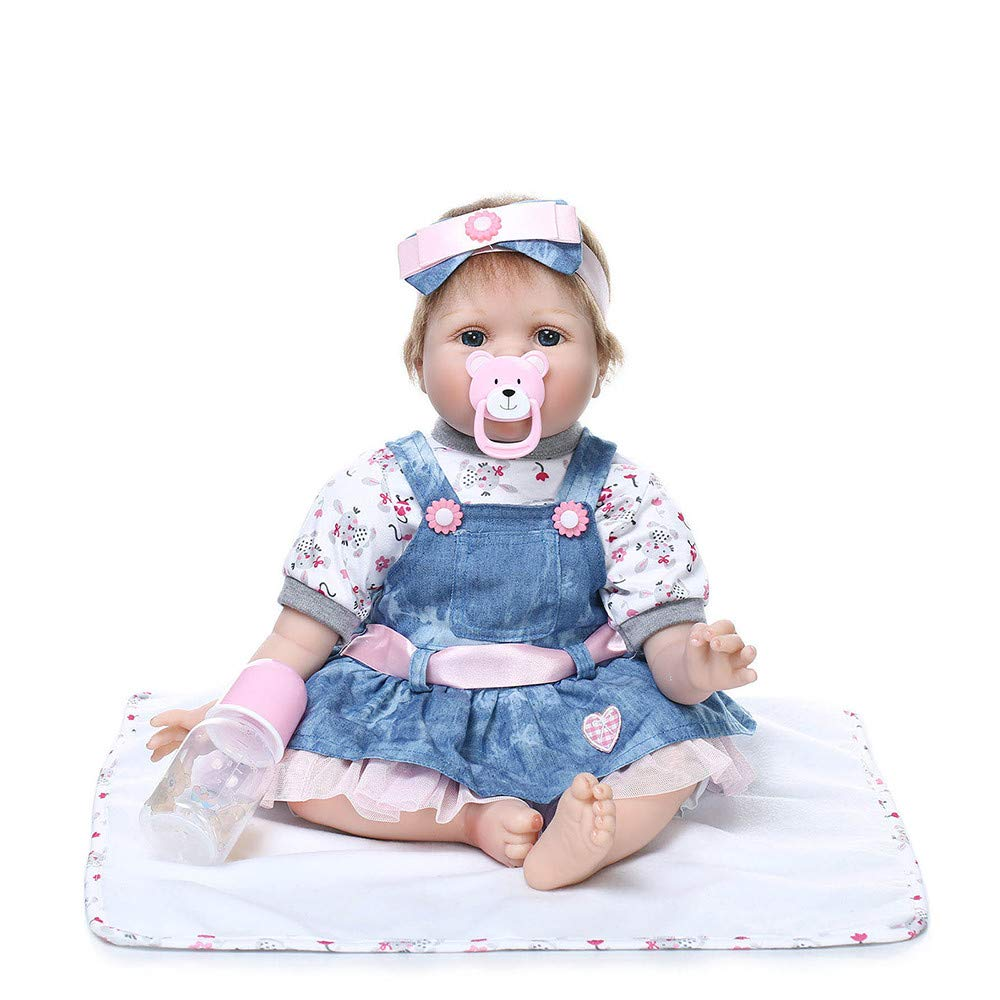 Aobiny Reborn Baby Doll Soft Simulation Silicone Vinyl Cloth Body, 22inch Magnetic Mouth Lifelike Boy Girl Toy, with Clothing, nozzles and Water Bottles (Multicolor)