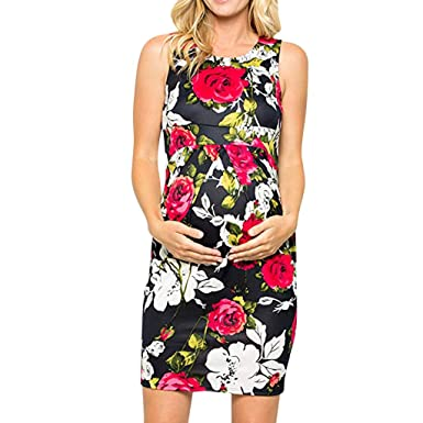 7ecafc4d5b55d Women's Loose Print Sleeveless Maternity Tank Dress Ruched Side ...