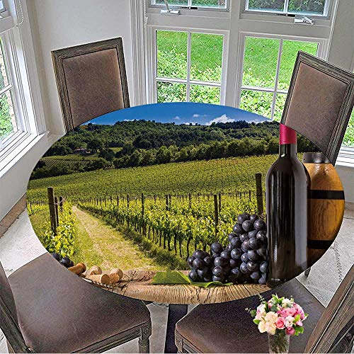 Mikihome Luxury Round Table Cloth for Home use Red Wine Bottles with Grapes on wodden Board Beautiful Tuscany Background for Buffet Table, Holiday Dinner 67