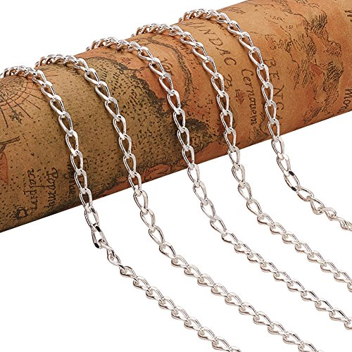PandaHall Elite 5 Yard Open Link Cable Chain Electroplate Brass Drop Twisted Chains Curb Chains 7x3x2mm for Jewelry Making Silver - 16' Twisted Box Chain