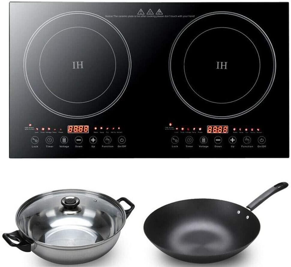 DYRABREST 110V 1200W*2 Double Hot Plate Cooking Burner Electric Dual Induction Cooker Stove Portable Portable Infrared Burner Black Crystal Panel Non-slip Pads Faster Heat Dissipation USA STOCK