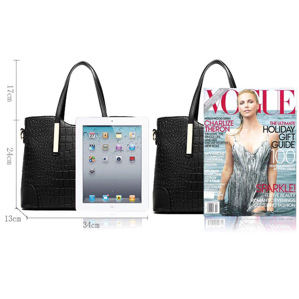 XIN BARLEY Women Shoulder Bag 2 Piece Tote Bag Pu Leather Handbag Purse  Bags Set Black  Handbags  Amazon.com 2eae2ce7da465