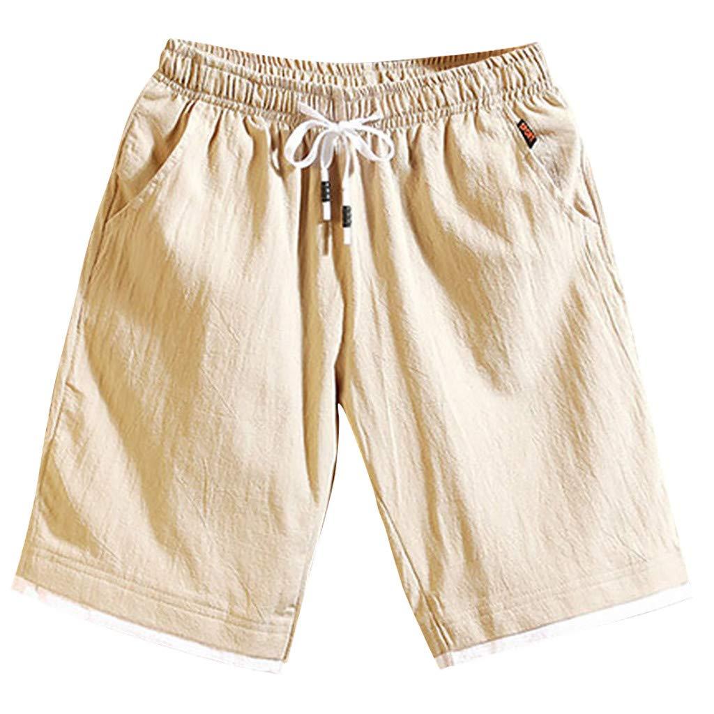 GreatestPAK Sommer Herren Kurze Hosen Jogginghosen Fitnesshosen Leinen Strandhosen Lose Lässig Shorts