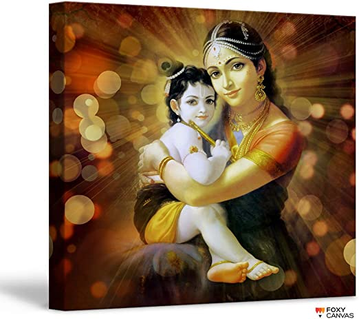 Amazon Com Foxycanvas Lord Krishna Baby Krishna With Yashoda Poster 16x16 Inch Framed Posters Prints