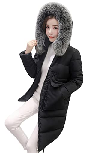 Bigood Women Warm Fur Collar Hooded Long Down Jacket Puffer Coat Parka Black M