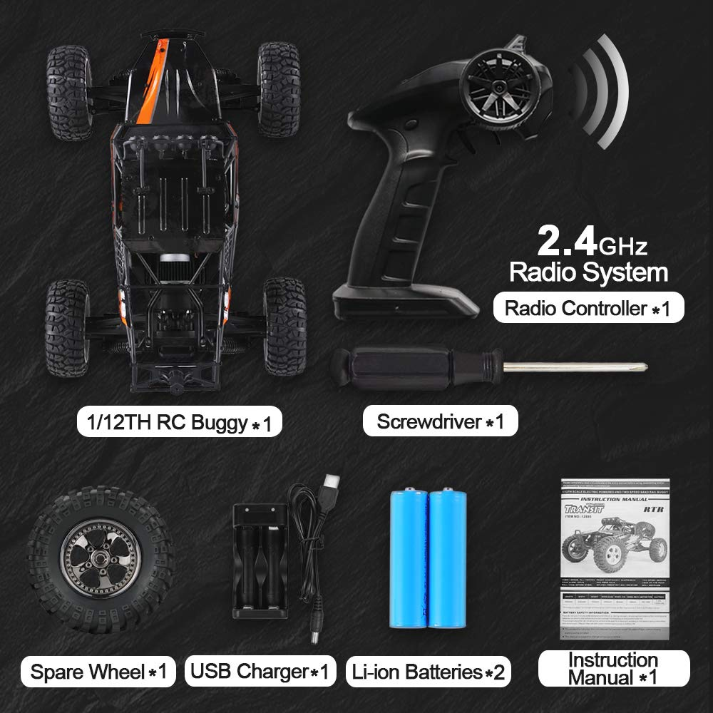 RC Cars Protector 1/12 Scale 4WD Off-Road Buggy 38+KM/H High Speed LED Lights, 2.4 GHz Radio Controlled All Terrain Waterproof Trucks RTR Electric Power Rechargeable Batteries 7.4 V 1500 mAh by BBM HOBBY (Image #5)