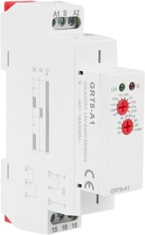 Yosoo Health Gear GRT8-A1 Mini relé de retardo de Encendido y Apagado, relé de retardo de Tiempo AC/DC 12v ~ 240v con Perilla Ajustable