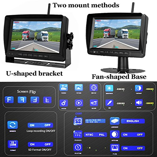Upgraded Dual Backup Observation System Screen RV/Pickup/Truck/Trailers/5th Waterproof Night
