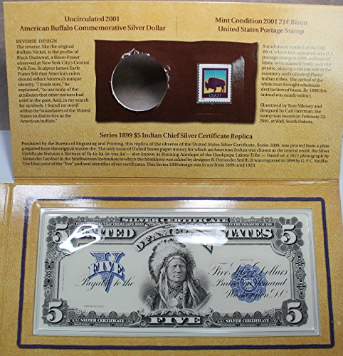 611Ou5zYnSL - 2001 The American Buffalo Coin and Currency Set With Stamp and replica Silver 5 dollar Certificate. No Coin! .